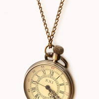 Antiqued Watch Pendant Necklace