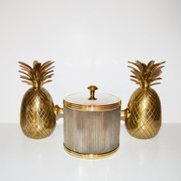 Vintage Mid Century Barware Ice Bucket Silver and Gold Ice Bucket Hollywood Regency Ice Bucket