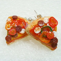 Pizza Slice Earrings. Polymer Clay.