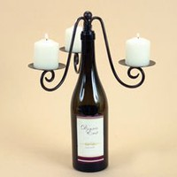 Triple Pillar Votive Wine Bottle Stopper Candelabra, Candle Holder for Three Votive Candles, Metal with Bronze Finish