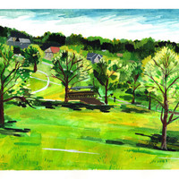 "Original Watercolor painting. Westwood park. Landscape. 11"" x 15"" green Kansas City Missouri art artwork"