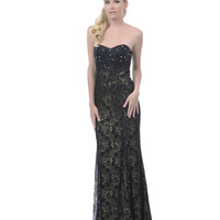 2013 Homecoming Dresses - Black Beaded Lace Overlay Strapless Long Dress - Unique Vintage - Prom dresses, retro dresses, retro swimsuits.