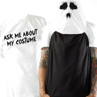 Halloween Costume Flip Tee - Ghost Face Flip Up Shirt - Sizes small - 3XL - Halloween Costume for Adults - Funny Costume