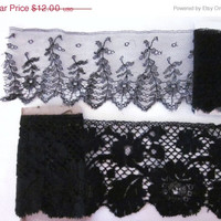ON SALE Victorian Lace Trim, Edwardian, Black Lace, Set of 2 Different Trims