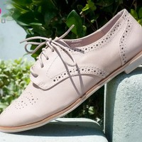 Bumper Eugenia-04 Perforated Lace Up Oxford Flat (Natural) - Shoes 4 U Las Vegas