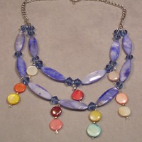 Blue Handmade Beaded Necklace 17 inches