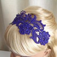 Purple lace headband with crystals | StitchesFromTheHeart - Accessories on ArtFire