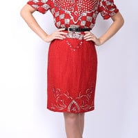 Vtg 80s Red Silver Metallic Art Deco Sequin Beaded Dress Silk Scalloped Mini M Medium