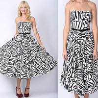 Vtg 80s Black  White Zebra Print Dress Cocktail Full Pleated Strapless Party XS