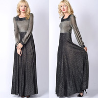 Vtg 70s Black Metallic Striped Dress Full Glam Cocktail Party Boho Sheer XS S