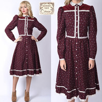 Vtg 70s Gunne Sax Boho Hippie Dress Floral LACE COLLAR Velvet S M Scalloped
