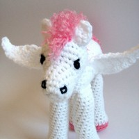 Pink and White Sparkle Pegasus Winged Horse Stuffed Plush Crochet