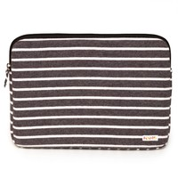 Poketo Striped Fleece Laptop Case - Charcoal