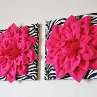 TWO Wall Flowers Hot Pink Dahlia Flowers on Black and by bedbuggs