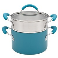 KitchenAid Aluminum Nonstick 3-Qt. Covered Saucepot with Stainless Steel Steamer Insert, Peacock