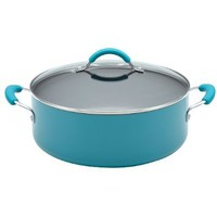 KitchenAid Aluminum Nonstick 7-1/2-Quart Covered Wide Stockpot, Peacock