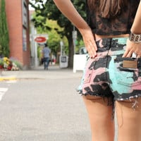 Color Splattered Studded Shorts by UrbanEclectics on Etsy