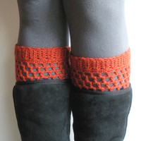 Crochet Boot Cuffs in Paprika, wool blend, ready to ship.