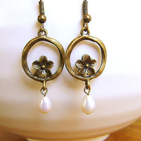 Plum  Blossom Earrings  With Pearls