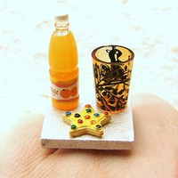 Food Ring Cookie Star Orange Juice Miniature Food Jewelry Gifts Under 10 SALE