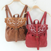 Embroidery Flower Hand Applique Leather iPad Bag,Girls School Laptop Backpack