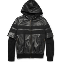 Givenchy Double-Sleeved Leather-Stripe Cotton Bomber Jacket | MR PORTER