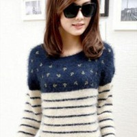 Fashion stripe wool women sweater sea anchor  from Topboutique
