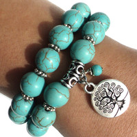 Tree of Life Mala Bracelet Yoga Set Turquoise Jewelry Protection Namaste Earthy Unique Gift Anniversary Birthday Under 50 Item S34