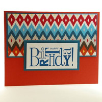 Happy Birthday Masculine Card With Native American Inspired Pattern
