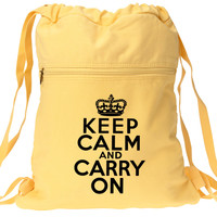 Keep Calm and Carry On Backpack Yellow Drawstring Canvas Book Bag