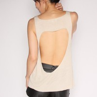 Open Back Heart Cutout Knit Top-White