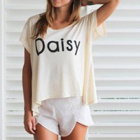 "Cream Short Sleeve ""Daisy"" Print T-shirt"
