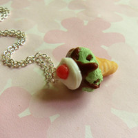 mint chocolate chip ice cream cone necklace polymer clay