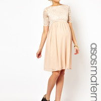 ASOS Maternity Midi Skater Dress In Lace And Chiffon at asos.com