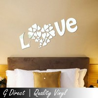 Love with Hearts Mirror Wall Sticker