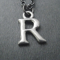 INITIAL Necklace - Personalized Pewter Initial Necklace on 18 inch gunmetal chain - Initial Jewelry - Alphabet Necklace