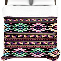 Kess InHouse Nika Martinez Black Aylen 88 by 88-Inch Duvet Cover, Queen