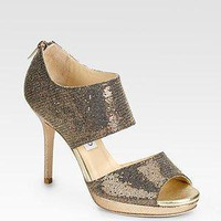 Jimmy Choo - Lagoon Platform Metallic &amp; Glitter-Covered Leather Sandals - Saks.com
