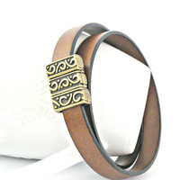 Brown leather bracelet double wrapped with brass carved magnetic clasp