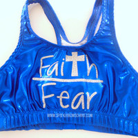 Faith over Fear Metallic Sports Bra Cheerleading