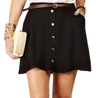 Black Belted Button Skater Skirt
