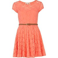 coral lace belted skater dress - skater dresses - dresses - women - River Island
