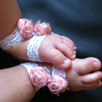 Baby Girl Elastic Lace with Cloth Rosette Infant Sandals