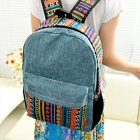 Canvas Backpack with Colorful Stripes KLT698