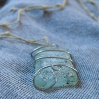 Ancient Cage - Gypsy Mermaids Necklace, Sea Glass, wire, thread | Linandara - Jewelry on ArtFire