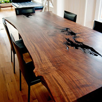Modern Live Edge Slab Dining Table Claro Walnut