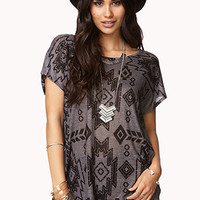 Semi-Sheer Tribal Print Top