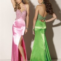 Column Floor Length Halter Open Back Pink Or Apple Green Ed1046 Beads High Slit Evening Dress EVD040