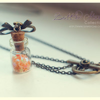 Bronze Lace Tiny Bottle Necklace, with glitter stars. CUSTOM STARS COLOR. Glass vial necklace. Bottle Pendant, cute necklace