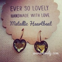 metallic faceted blue green heart earrings  summer by EverSoLovely